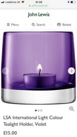 Brand New LSA Purple Tealight Candle Holder