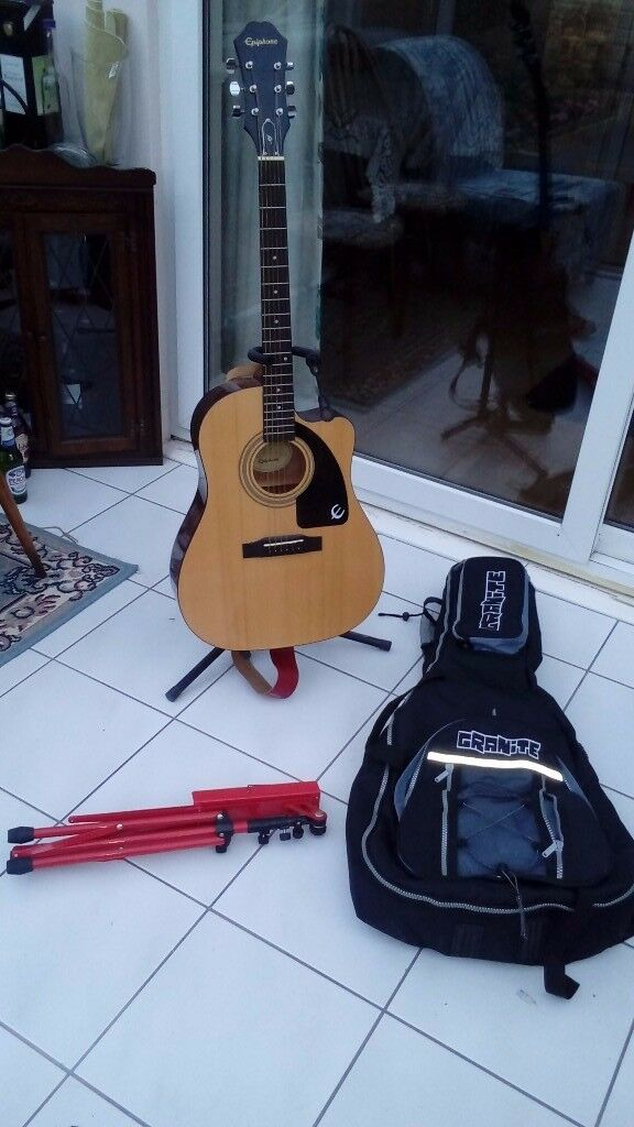 Epiphone Acoustic Guitar, padded case, stand plus other accessories