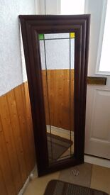 Long wooden mirror