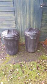 Two 80 litre plastic dustbins