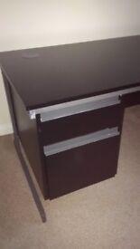 Black Office Desk - 2 Drawer