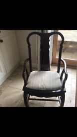 Dining chairs - 6 2 with arms and 4 without - solid oak require a bit of tlc