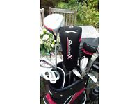 Full set of mens Slazengar Panther clubs with bag + trolley + golf shoes, balls etc.