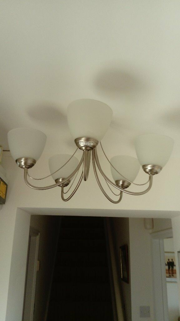 5 light brushed steel light fitting with glass shades including bulbs