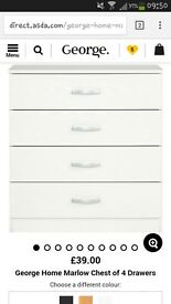 Brand new in the box unopened set of white drawers