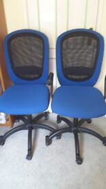 Blue office chairs on castors ......very good condition