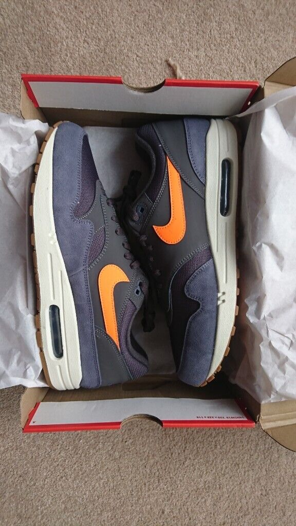 online retailer e84ea 4f5d5 Mens Nike Air Max 1 Thunder Grey Total Orange Size 10. Never been worn