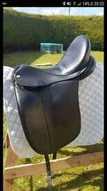 Black dressage saddle