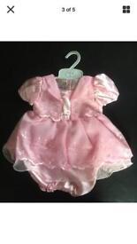 Baby Satin Dress Pink 9-12 months 2 piece £5