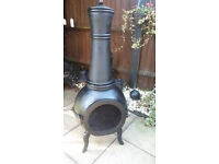 Large full cast iron port hole garden chiminia