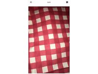RED & WHITE CHECKED FRYETS FABRIC 128cm LENGTH