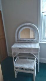 Dressing table and stool-in white cane also single white cane head board