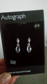 Beautiful earings with Swarovski crystals, light blue. In box, never used.