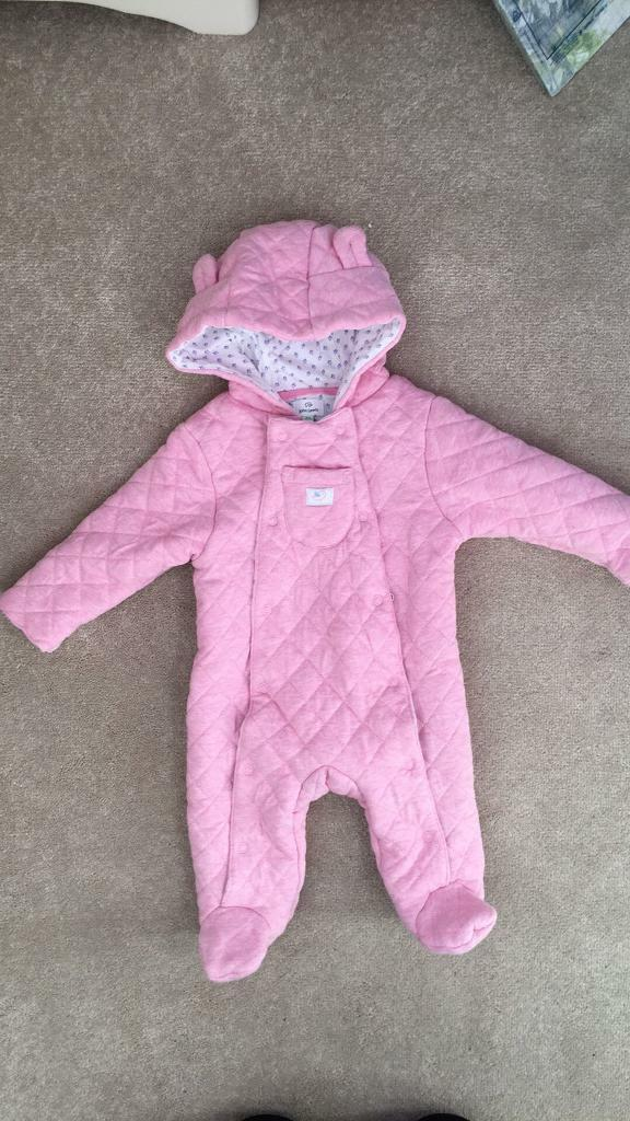 b698a4752e3f Pink 0-3 month baby girl John Lewis quilted snowsuit pram suit