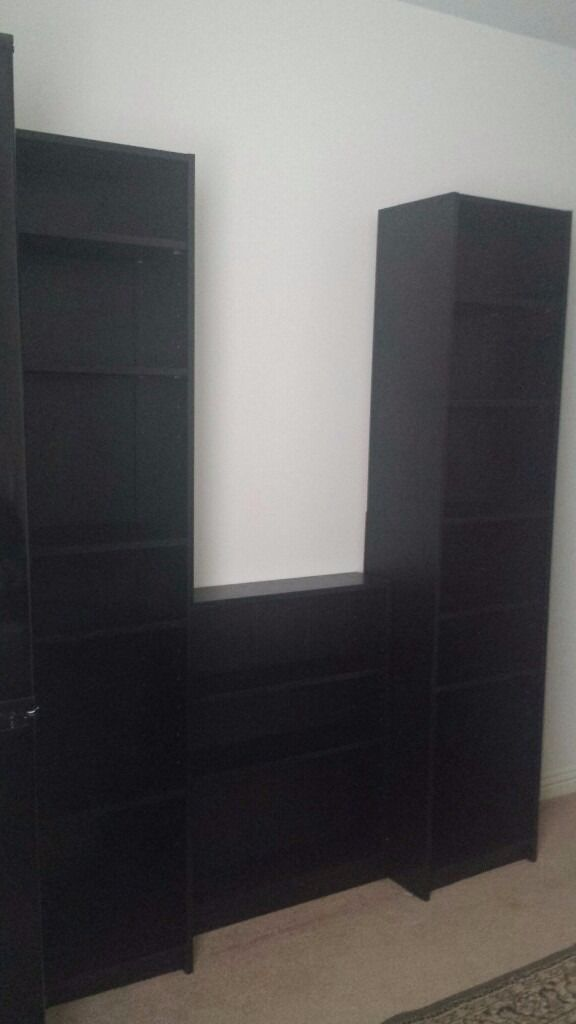 FREE set of 3 bookcases BLACKevening collection onlyin Yoker, GlasgowGumtree - three separate bookcases offered as a set only (units are not connected) appear to still be in good shape, no scratches that Ive noticed one of the Tall bookcases has a hole cut out of the backing cardboard (for cable access) One Small Bookcase Black...