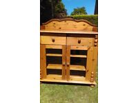 BABY CHANGING UNIT / STORAGE BATHROOM CHEST/SOLID PINE , GLAZED DOORS