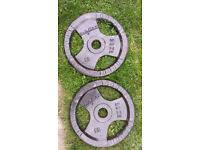 Pair of 20kg cast iron olympic weight plates. Strongman crossfit bodybuilding gym strength fitness