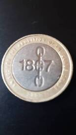 Very rare Mint miss print. Abolition of the slave trade £2 coin in great condition.