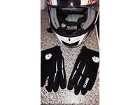 BKS union jack motorbike helmet and summer Gloves...£60 as new condition
