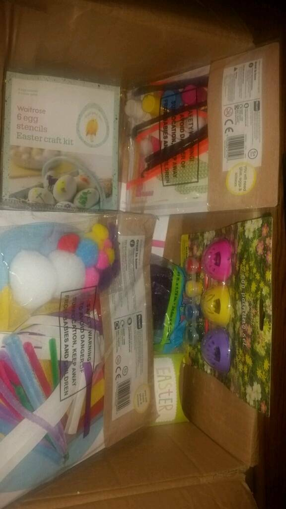 Box 10 items mix of ester setkit easter sewing kit; waltrose 6 egg stencils easterin Cheadle, ManchesterGumtree - 10 items mix of ester set & kiteaster sewing kit; waltrose 6 egg stencils easter ,Crochet your own bunny,Mini chicks