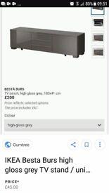 High Gloss Grey Ikea Besta unit