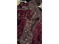 Purple and silver lehnga indian dress