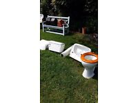 White Royal Doulton Toilet with Cistern, also White Twyfords Curved Cistern and sink with pedestal