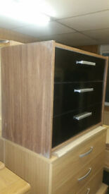 New Sywell 3 Drawer Chest - Walnut Effect & Black Gloss