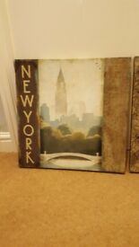 Paris and new york canvas