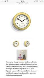 Brand New in Box - Newgate Yellow Clock 23cm