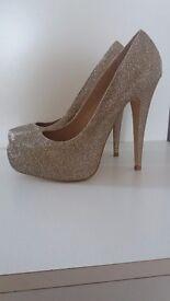 Gold carvela ladies shoes