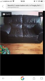 Espresso coloured 2 seater leather sofa, excellent condition