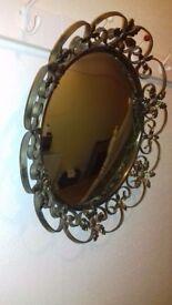 Vintage ornate framed round mirror for sale