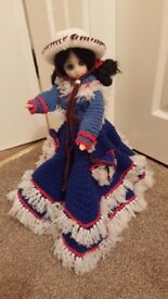 "14"" DOLL WEARING HER HAND MADE CROCHET DRESS & BONNET PERUVIAN STYLE"