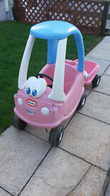 Little Tikes Cozy Coupe Pink Car and Trailer