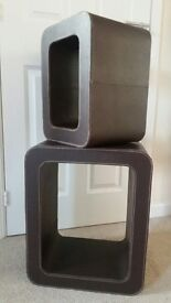 Bedside Tables from Dwell. Brown in colour. Can be used for a variety of purposes.