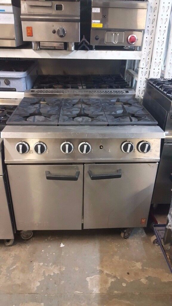 COMMERCIAL FALCON NATURAL GAS COOKER 6 RING With OVEN,ORIGINAL FALCON ON WHEELS