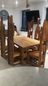 Heavy Wood Table & Chairs