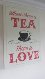 Large Canvas Art 'Where there is tea there is love'