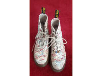 Original White Flowery Quirky DMs. Size 6.