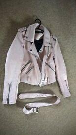 suede biker jacket size xs new