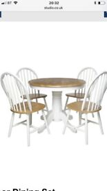 Pedestal table and 3 matching chairs