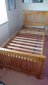 Single wooden bed and trundle/guest bed set - £60