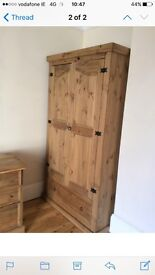 Double pine wardrobe and desk with drawers