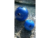 2 Blue Decorative Garden Orbs with Stars