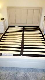 Double Bed Frame - Natural Fabric with Storage Drawer