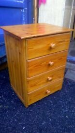 Unusual solid pine rustic plank style four drawer chest in great condition