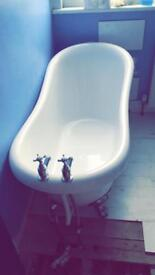 Brand new bath and little used bathroom basin for sale with taps - open to offers
