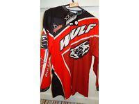 wulfsport race shirt motocross motox quad junior youth kids age 11-13 red