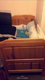 Wooden cot/toddler bed with memory foam mattress great condition